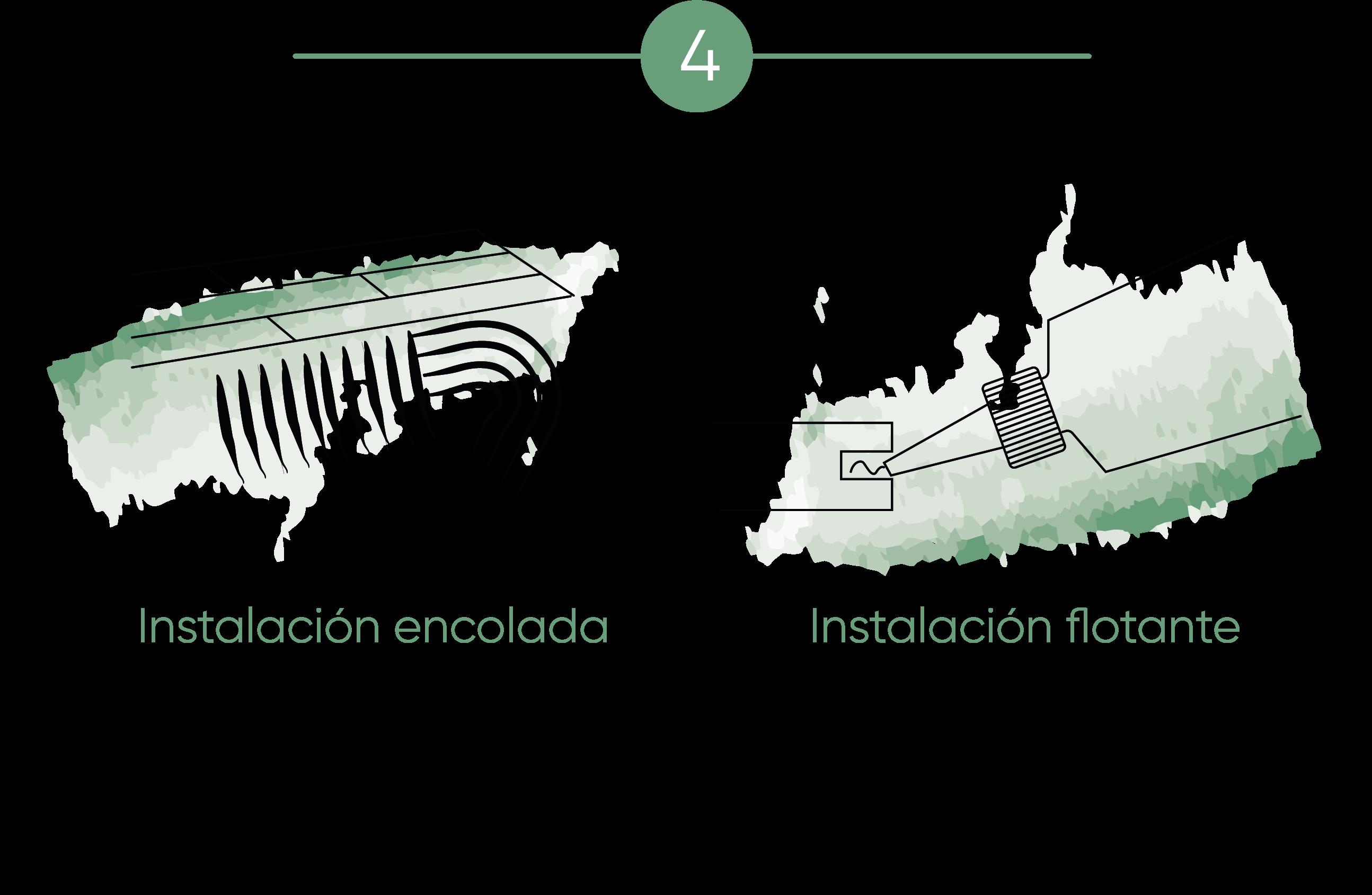 Ilustración que muestra que al instalar parquet el instalador utiliza un adhesivo correcto en la instalación encolada y flotante