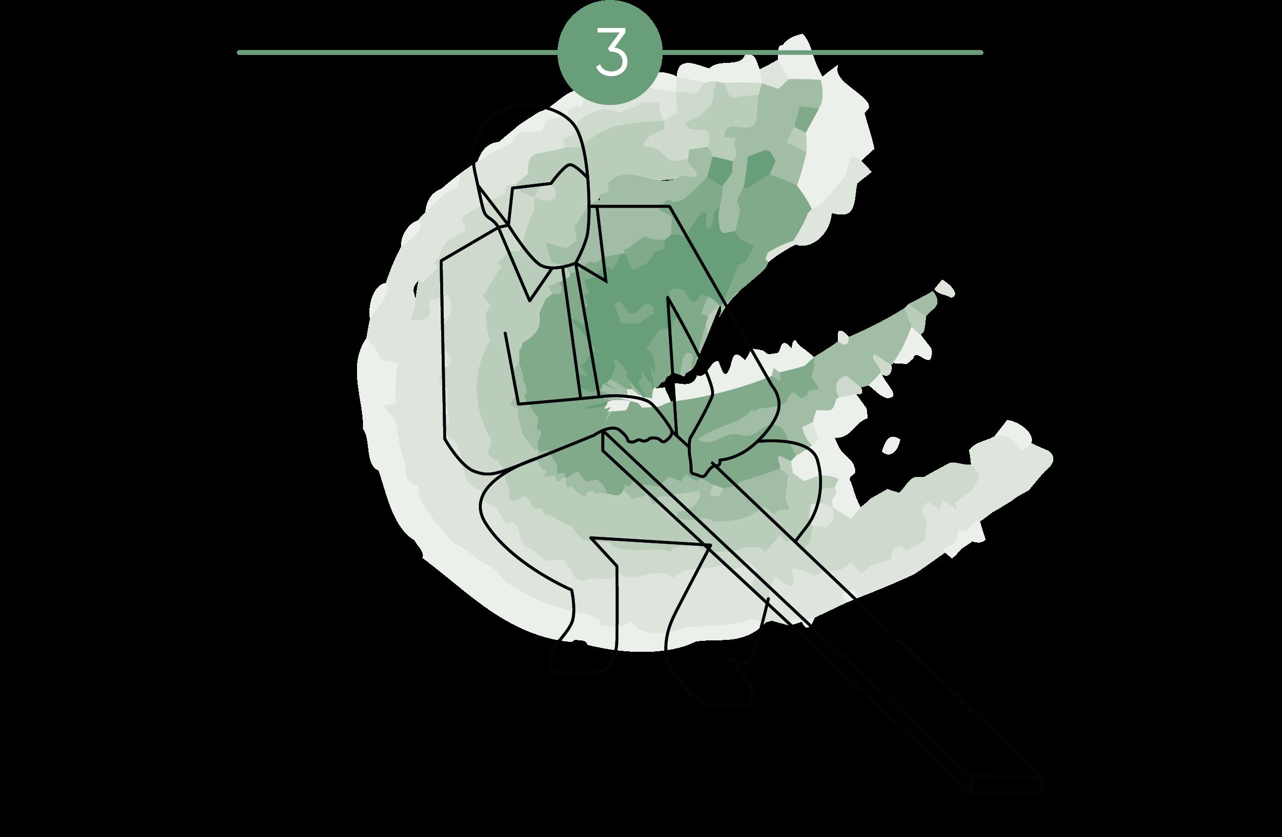 Ilustración que muestra que al poner parquet el instalador inspecciona las lamas de parquet antes de su colocación