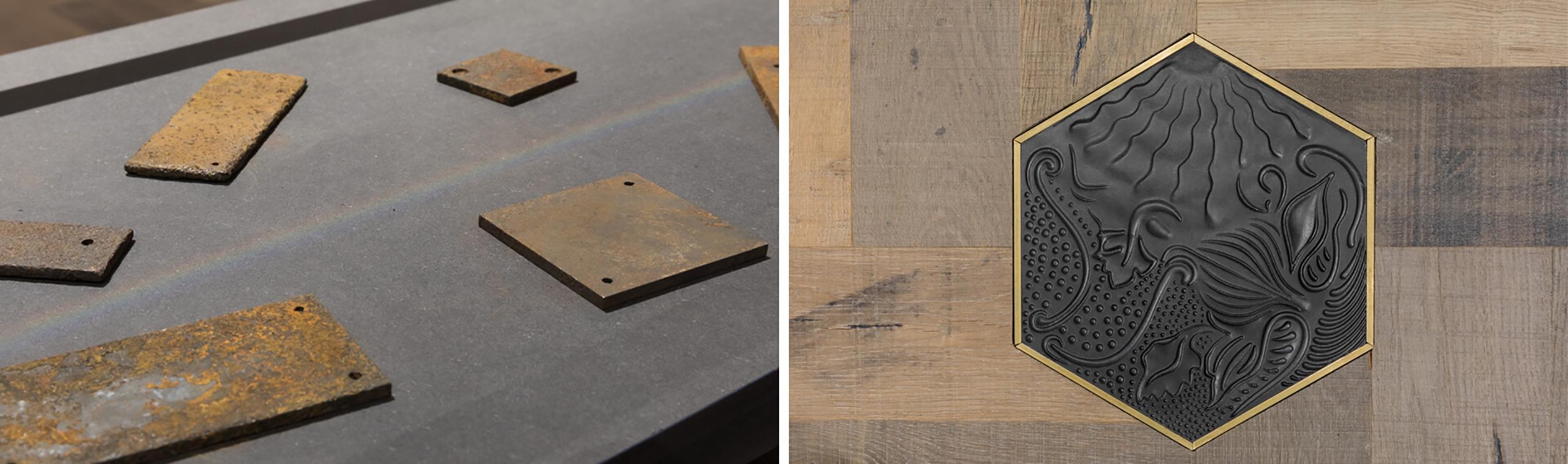 Detalle de madera y hierro del showroom de parquets WINco