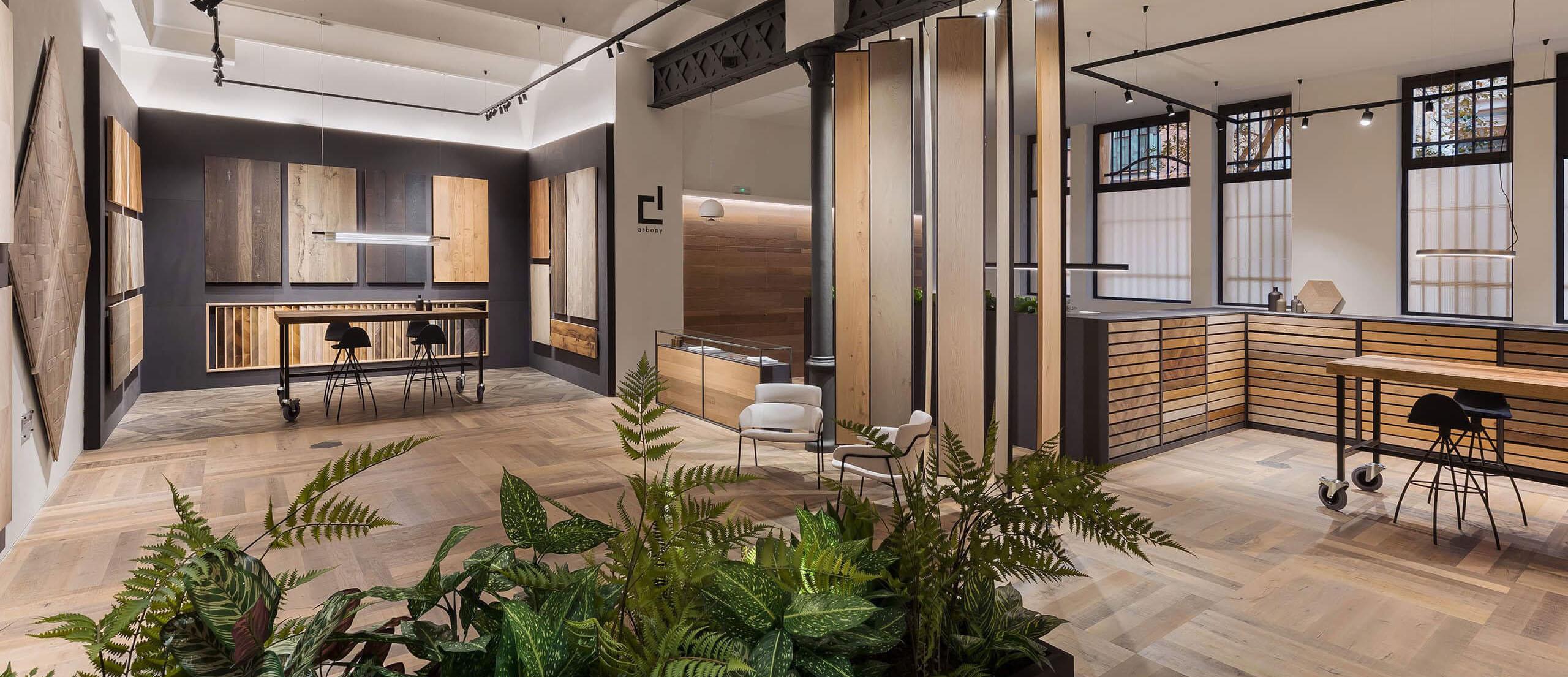 Vista panoramica interior showroom parquets WINco